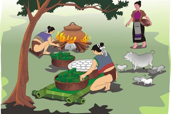 Lang liêu cùng bà con nhân dân gói bánh chưng bánh dầy dâng lên vua cha